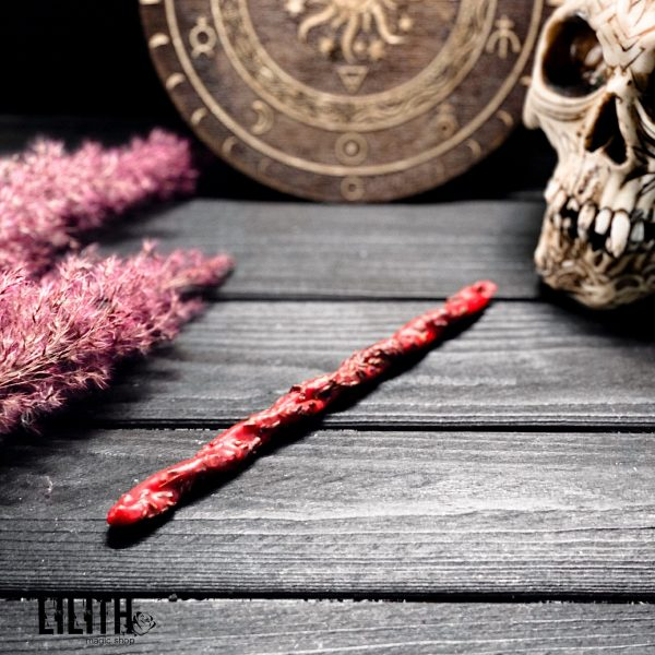 Set of 5 Love Spell Ritual Twisted Beeswax Red Candles with Herbs