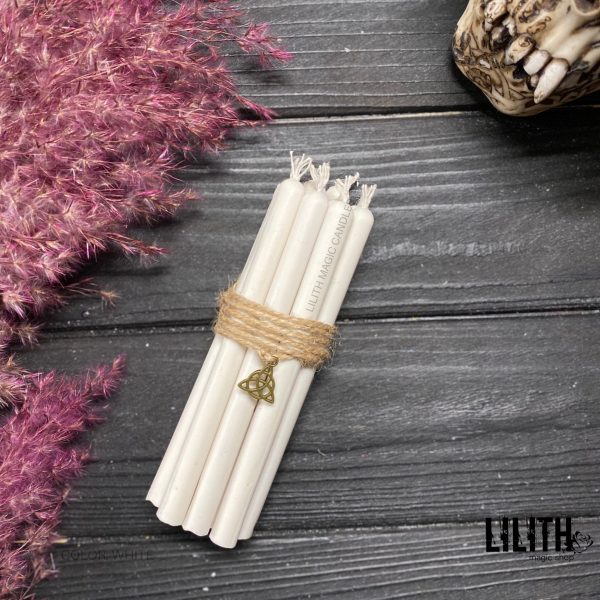 Set of 10  Ritual White Beeswax Candles
