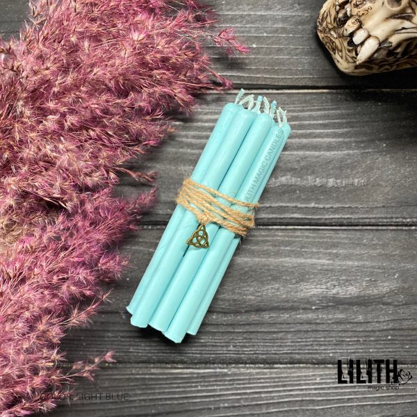 Набор из 10 голубых ритуальных свечей