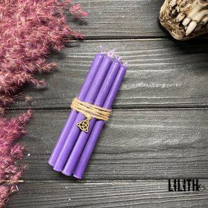 Фиолетовые восковые свечи для обрядов и ритуалов набор (10 шт)