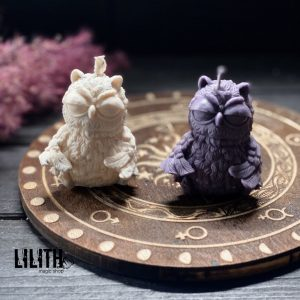 Owl Beeswax Ritual Candles with Lavender – 2 items set