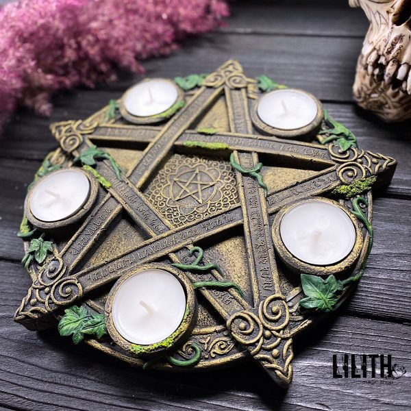 Wiccan Altar Pentagram Pentacle with Candlesticks