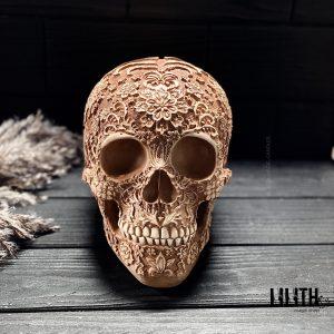 Santa Muerte Gypsum Full Size Skull – Clear Varnish Finish