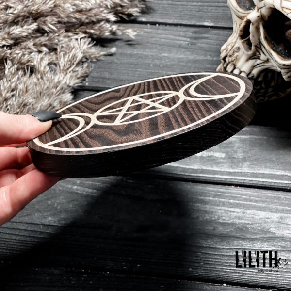 Triple Moon Wiccan Wooden Ash Tree Altar Pentacle – 6 Inches Diameter