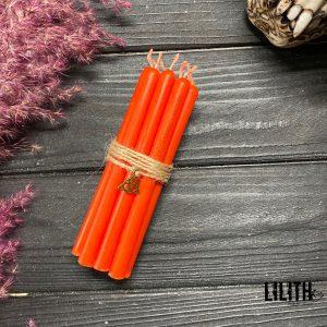 Set of 10 Ritual Orange Beeswax Candles