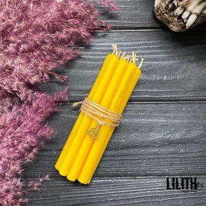 Желтые восковые свечи для обрядов и ритуалов набор (10 шт)