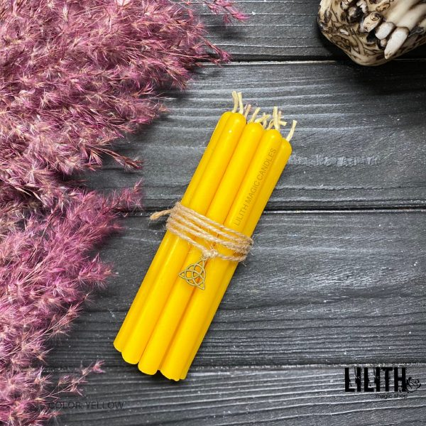 Set of 10 Ritual Yellow Beeswax Candles