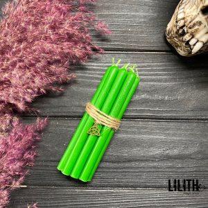 Зеленые свечи из воска для обрядов и ритуалов набор (10 шт)
