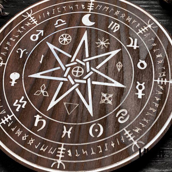 Spiritual Wooden Ash Tree Altar Pentacle – 8 Inches Diameter