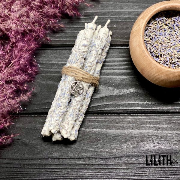 Set of 5 Ritual Lavender Intention Beeswax Candles