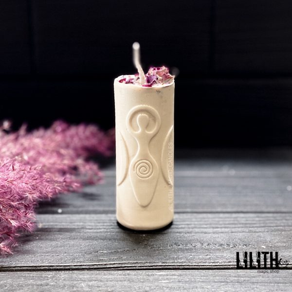 Goddess Beeswax Ritual Candle with Herbs and Essential Oils