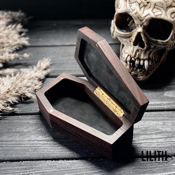 Wooden Coffin Witch Casket with Pentagram