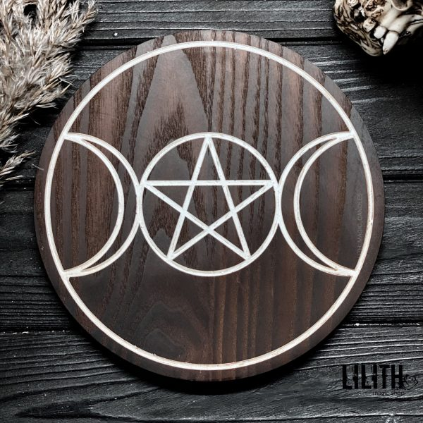 Triple Moon Wiccan Wooden Ash Tree Altar Pentacle – 8 Inches Diameter