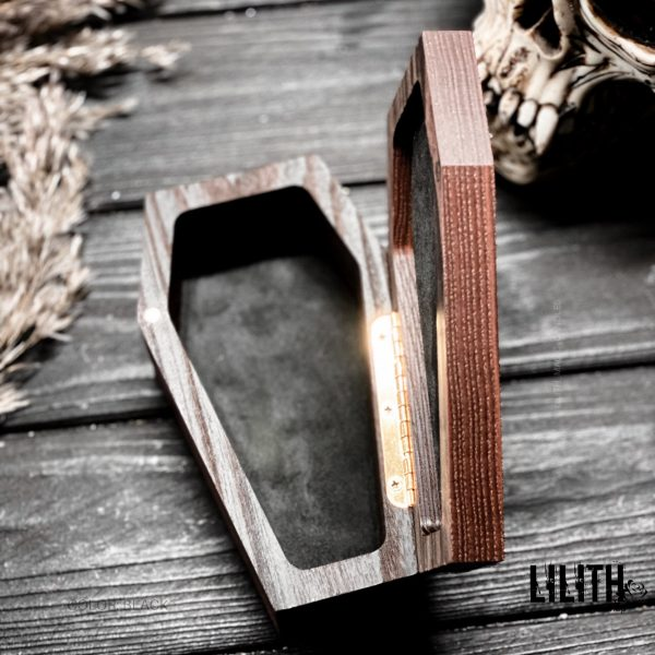 Triple Moon Wooden Ash Tree Witch Casket Finished  – Finished with Alcantara Inside – with Builtin Magnet for Easy Closing