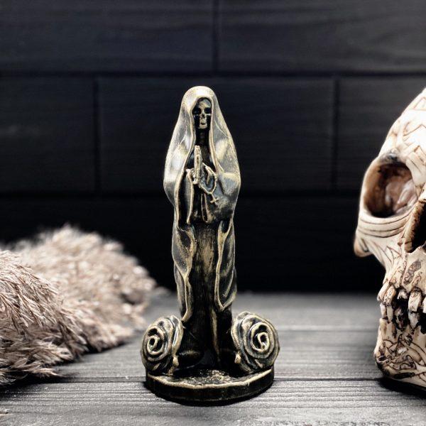 Santa Muerte (Holy Death) Gypsum Figurine – Clear Varnish Finish