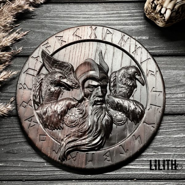 Odin in the Runic Circle Wooden Ash Tree Altar Pentacle for Runic Spells – 8 Inches Diameter