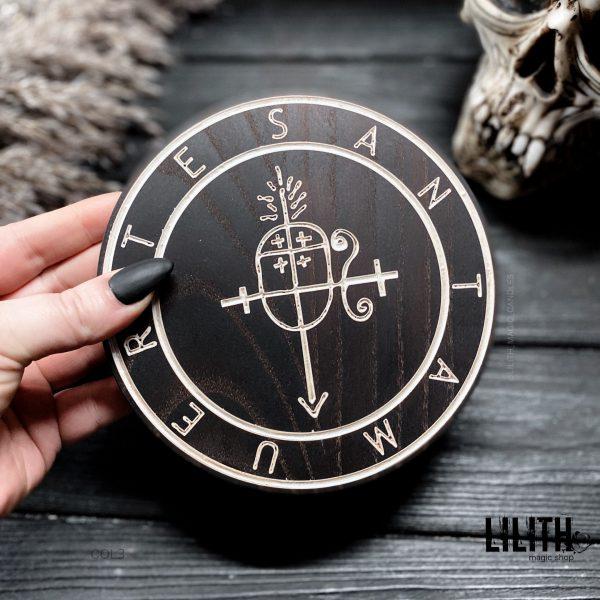 Пентакль Сигил «Santa Muerte» из ясеня – диаметр 6 дюймов