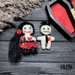 2 Handmade Voodoo dolls for Voodoo love spells – male doll + female doll
