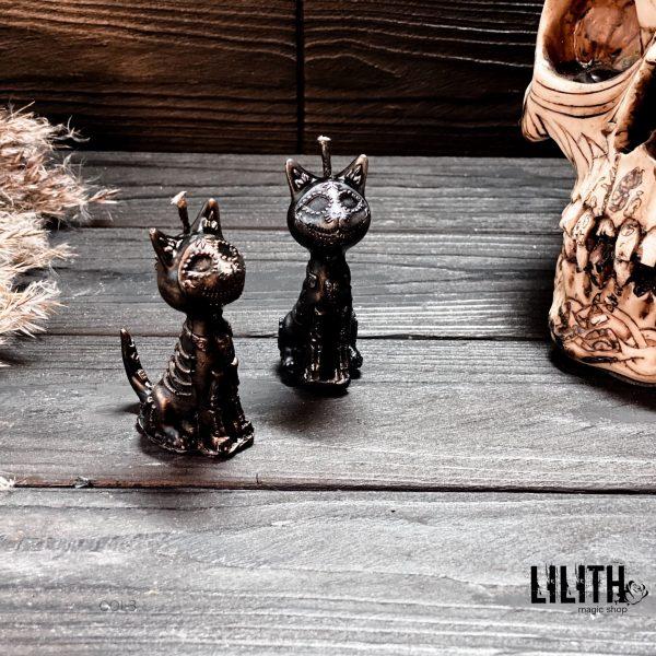 Santa Muerte Cat Beeswax Ritual Candle