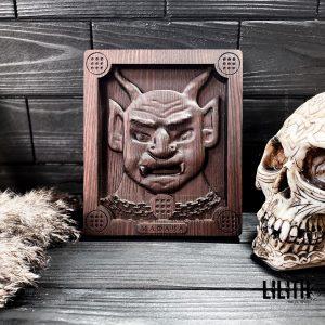 Money Demon Mafawa Wooden Icon for Black Magic Money Spells