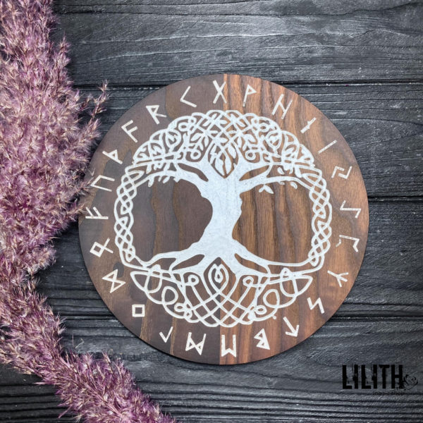 The Tree of Life Yggdrasil Wooden Ash Tree Altar Pentacle