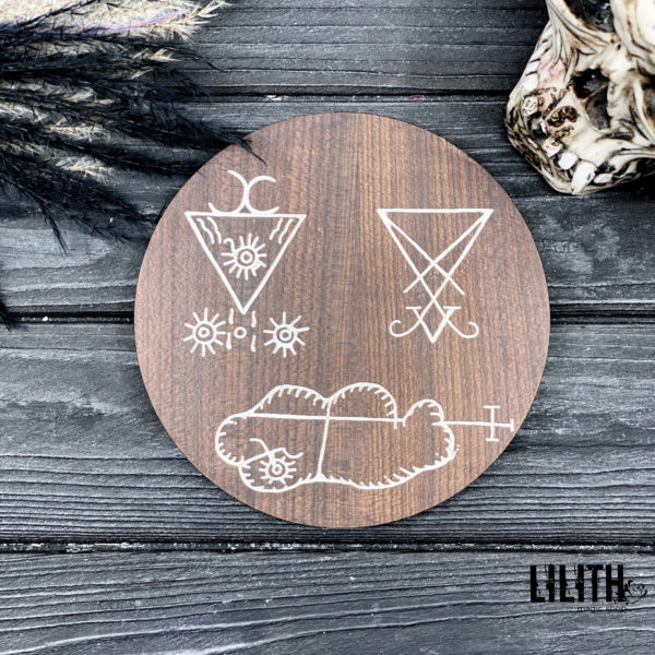 Lucifer Invocation 2-Sided Wooden Ash Tree Altar Pentacle for Goetic Spells/Rituals – 6 inches diameter