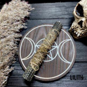 Черная свеча из вощины со шкурой змеи и травами для чистки
