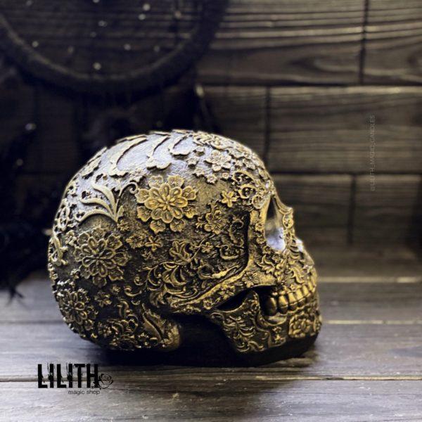 Santa Muerte Gold Gypsum Full Size Skull – Clear Varnish Finish