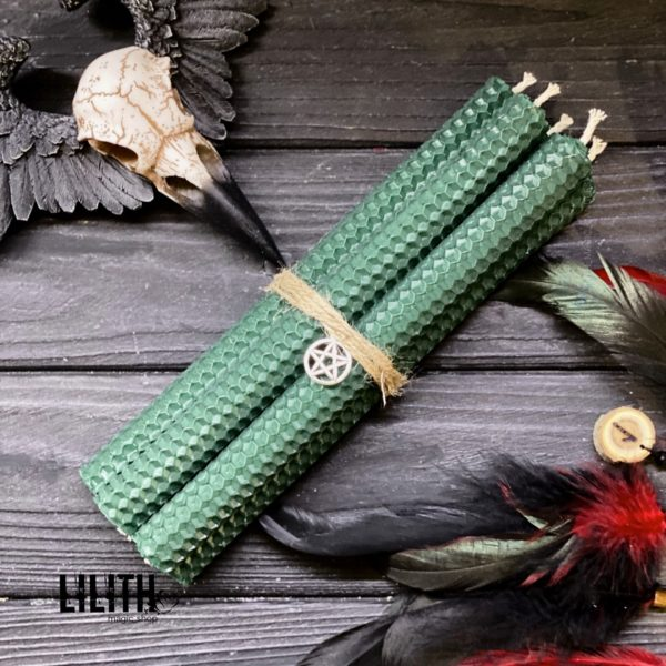 Dark Green Rolled Beeswax Honeycomb Candles – 5 item set