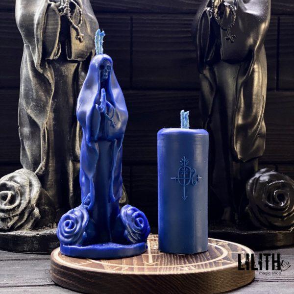 Набор из 2-х свечей Santa Muerte: фигурная свеча и свеча с Сигилом