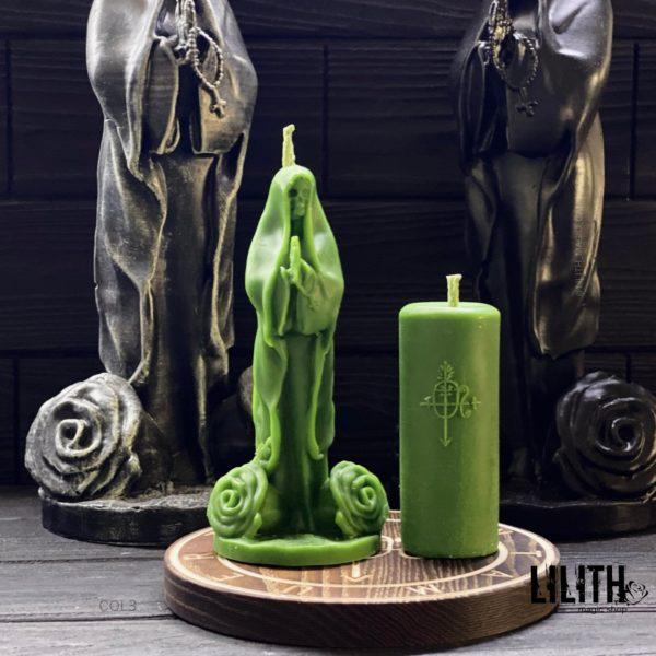 Set of 2 Santa Muerte (Holy Death) Ritual Beeswax Candles: Santa Muerte Candle + Sigil Candle