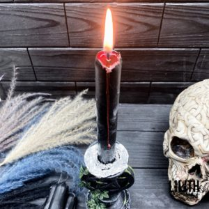 Set of 4 Love Spell Thick (Black Outside Red Inside) Beeswax Ritual Candles