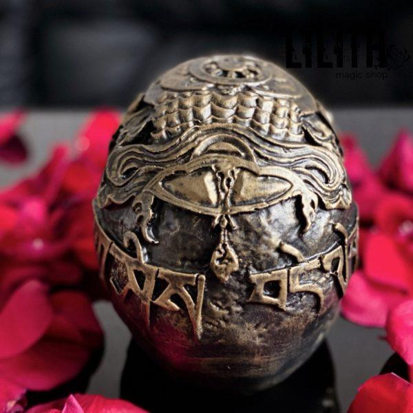 Tibetan Gypsum Skull – Clear Varnish Finish